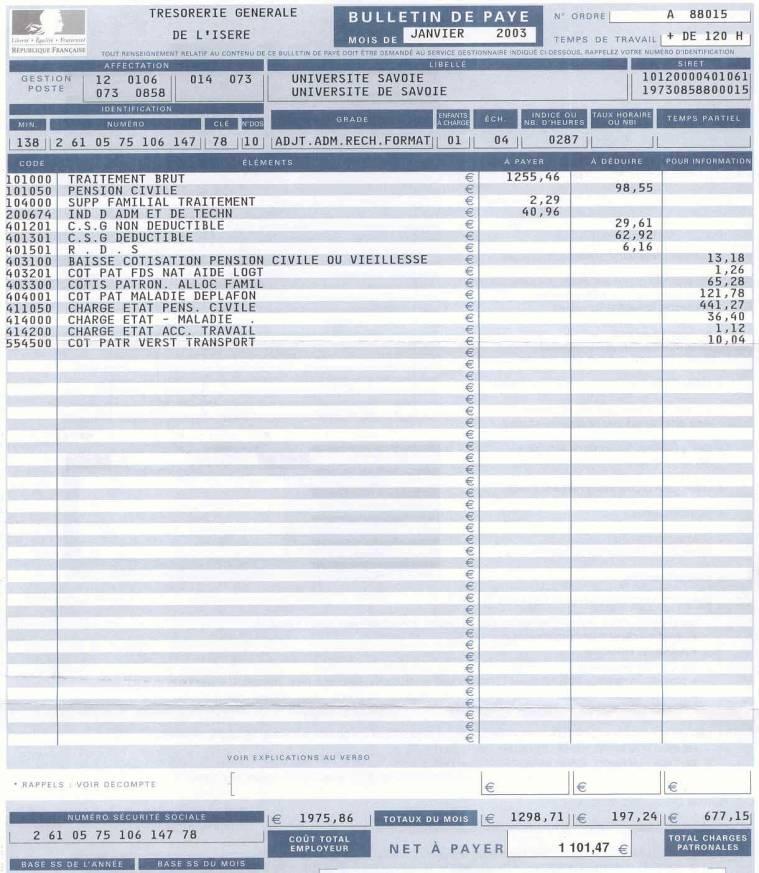 exemple bulletin de salaire fonctionnaire